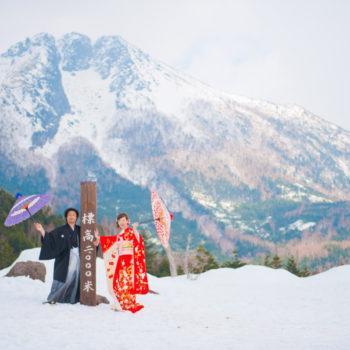 日光の雪山にて